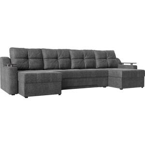 Угловой диван АртМебель Сенатор-П рогожка серый