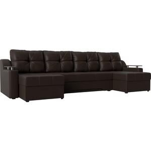 Угловой диван АртМебель Сенатор-П эко-кожа коричневый