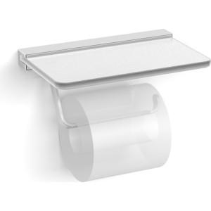Держатель туалетной бумаги Langberger со стеклянной полкой, хром (32041B)