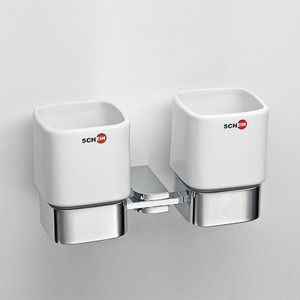 Стакан для ванны Schein Allom двойной, керамика, хром (224CS)