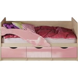цена Кровать Миф Дельфин 1 дуб беленый/розовый 1,6 м онлайн в 2017 году