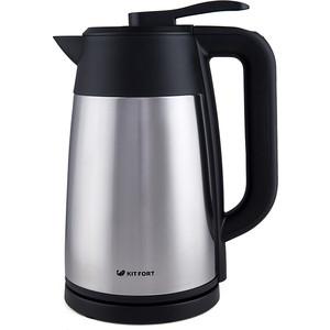 Чайник электрический KITFORT KT-620-2 серебристый/черный чайник электрический kitfort kt 609 серебристый черный
