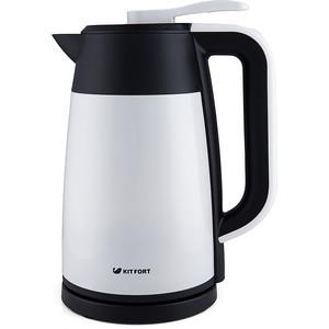 Чайник электрический KITFORT KT-620-1 белый/черный чайник электрический kitfort kt 609 серебристый черный
