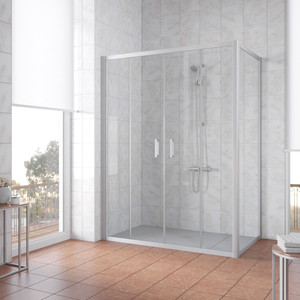 Душевой уголок Vegas Glass Z2P+ZPV 160*100 07 01 профиль матовый хром, стекло прозрачное уголок билар ups 160