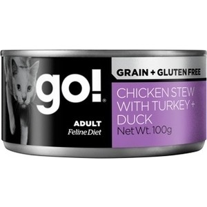 Консервы GO! NATURAL Holistic Cat Grain+Gluten Free Chicken Stew with Turkey+Duck беззерновые с курицей индейкой уткой для кошек 100г (28015)