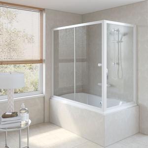 Шторка на ванну Vegas Glass ZV+ZVF 160*90 01 01 профиль белый стекло прозрачное шторка на ванну vegas glass zv zvf 160 90 09 01 профиль золото стекло прозрачное