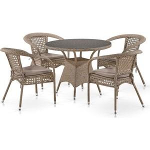 Комплект мебели из искусственного ротанга Afina garden T220CT/Y32-W56 light brown (4+1)