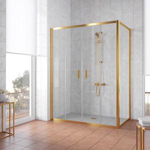 Душевой уголок Vegas Glass Z2P+ZPV 220*100 09 01 профиль золото, стекло прозрачное душевой уголок sturm gallery 90x90х190 профиль золото
