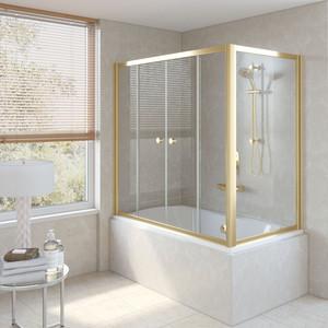 Шторка на ванну Vegas Glass Z2V+ZVF 160*90 09 01 профиль золото стекло прозрачное шторка на ванну vegas glass zv zvf 160 90 09 01 профиль золото стекло прозрачное