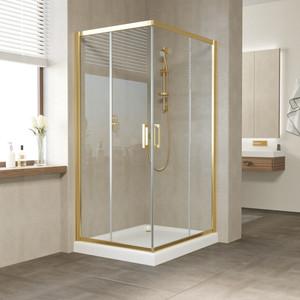 Душевой уголок Vegas Glass ZA-F 110*90 09 01 профиль золото, стекло прозрачное душевой уголок sturm gallery 90x90х190 профиль золото
