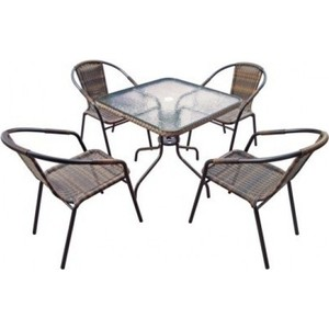 Комплект мебели Afina garden Николь 2B TLH-037B/080SR-80x80 Brown 4Pcs 4pcs diamond solar powered led colorful garden light