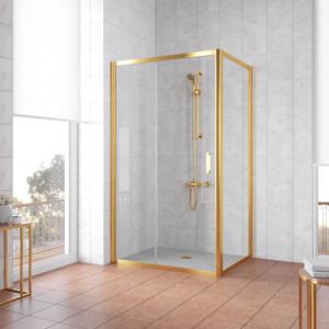 Душевой уголок Vegas Glass ZP+ZPV 130*90 09 01 профиль золото, стекло прозрачное душевой уголок sturm gallery 90x90х190 профиль золото
