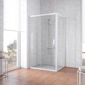 Душевой уголок Vegas Glass ZP+ZPV 140*90 01 01 профиль белый, стекло прозрачное все цены