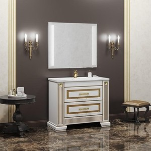 Мебель для ванной Opadiris Оникс 100 белый глянцевый/золото