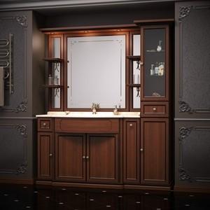 Мебель без раковины и столешницы Opadiris Корсо Оро 174 № 7 светлый орех с темной патиной, пенал справа (Z0000006230)