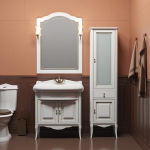 Мебель для ванной Opadiris Лоренцо 80 белый матовый 9003 с патиной