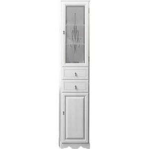 Пенал Opadiris Тибет 40 белый матовый 9003 с художественным стеклом без корзины правый (Z0000012651)