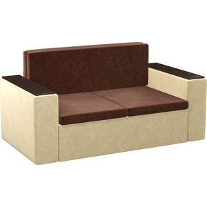 Детский диван Мебелико Арси микровельвет коричнево-бежевый