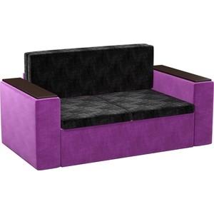 Детский диван АртМебель Арси микровельвет черно-фиолетовый