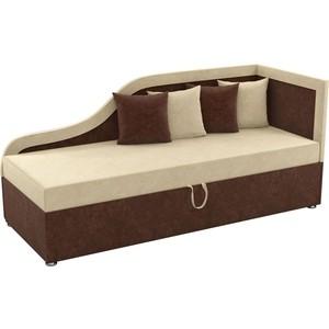 Детский диван Мебелико Дюна микровельвет бежево-коричневый правый угол диван кушетка мебелико дюна