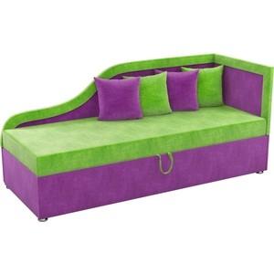 цена на Детский диван Мебелико Дюна микровельвет зелено-фиолетовый правый угол
