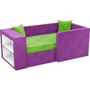Детский диван АртМебель Орнелла микровельвет зелено-фиолетовый правый угол