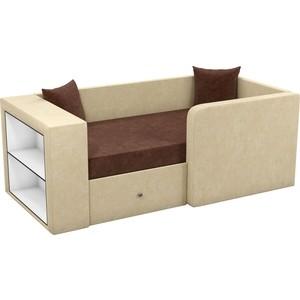 Детский диван Мебелико Орнелла микровельвет коричнево-бежевый правый угол