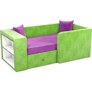Детский диван Мебелико Орнелла микровельвет фиолетово-зеленый правый угол