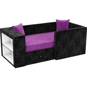 Детский диван АртМебель Орнелла микровельвет фиолетово-черный правый угол