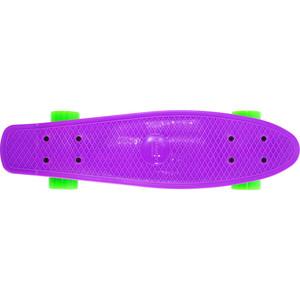 Скейтборд Hubster Cruiser 22 фиолетовый с зелеными колесами 9283П пенни борд hubster cruiser цвет фиолетовый зеленый дека 36