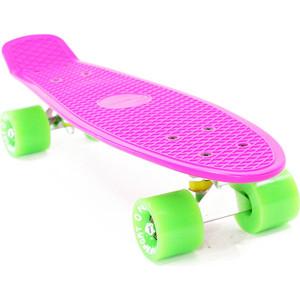 Скейтборд PWSport Classic 22 розовый-зеленый ВО3775-5 скейтборд pwsport classic цвет розовый зеленый дека 22