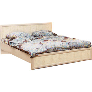 Кровать Олимп 06.259 Волжанка дуб линдберг/крок кремовый 140x200