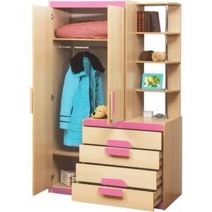 Шкаф комбинированный Олимп Лайф-1 дуб линдберг/розовый