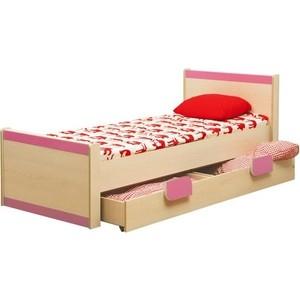 Кровать одинарная Олимп Лайф-4 дуб линдберг/розовый
