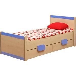 Кровать одинарная Олимп Лайф-4 дуб линдберг/голубой