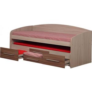 Кровать Олимп Адель-5 ясень шимо темный/светлый шкаф комбинированный олимп виола 4 ясень шимо темный ясень шимо светлый зеркало