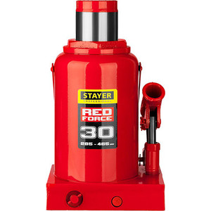 Домкрат гидравлический бутылочный Stayer 30т, Red Force (43160-30-z01) домкрат гидравлический бутылочный stayer 30т red force 43160 30 z01