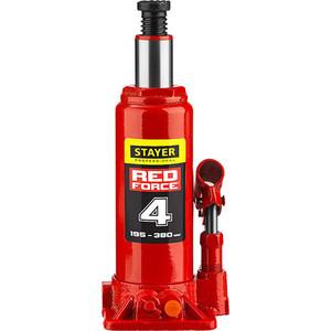 Домкрат гидравлический бутылочный Stayer 4т, Red Force (43160-4-z01) домкрат гидравлический бутылочный stayer 4т в кейсе red force 43160 4 k z01