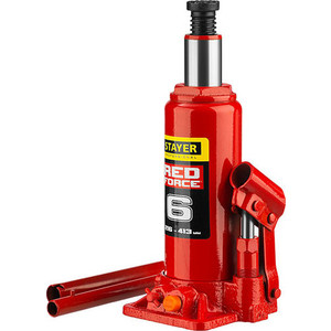 Домкрат гидравлический бутылочный Stayer 6т, в кейсе Red Force (43160-6-K-z01) домкрат schwartz 911 sj 6 6т