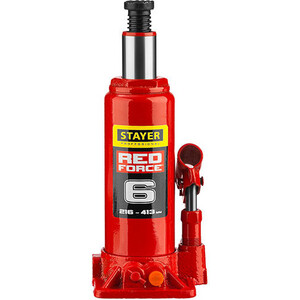 Домкрат гидравлический бутылочный Stayer 6т, Red Force (43160-6-z01) домкрат гидравлический бутылочный stayer 4т в кейсе red force 43160 4 k z01