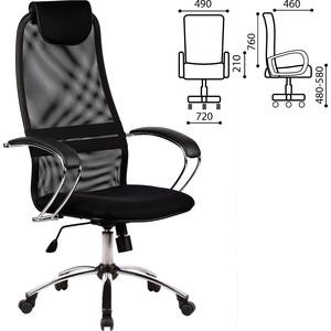 Кресло офисное Метта BK-8CH ткань-сетка, хром, черное 80364 офисное кресло profoffice skin сетка кожа белый черный хром сетка кожа полозья