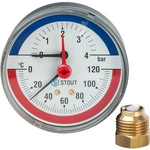 Термоманометр STOUT аксиальный Dn 80 мм 1/2 0-4 бар 0-120 град в комплекте с автоматическим запорным клапаном (SIM-0005-800415)