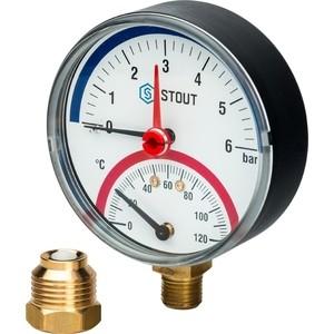 Термоманометр STOUT радиальный Dn 80 мм 1/2 0-6 бар 0-120 град в комплекте с автоматическим запорным клапаном (SIM-0006-800615)