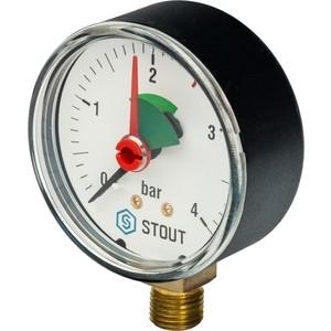 Манометр STOUT радиальный Dn 63 мм 1/4 с указателем предела (SIM-0008-630408)