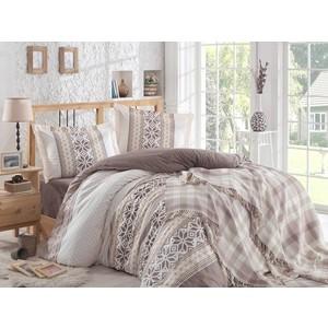 цена Набор для спальни Hobby home collection Carla покрывало + КПБ Евро поплин коричневый (1501001417) онлайн в 2017 году