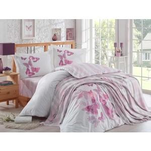 Набор для спальни Hobby home collection Sueno покрывало + КПБ Евро поплин лиловый (1501001418) кпб евро asteria home