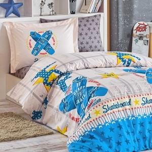 Комплект постельного белья Hobby home collection 1,5 сп, поплин, Skateboard синий (1501001760) комплект постельного белья hobby home collection 1 5 сп поплин vanessa синий 1501001100