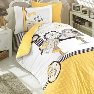 Комплект постельного белья Hobby home collection 1,5 сп, поплин, Smile жёлтый (1501001761)