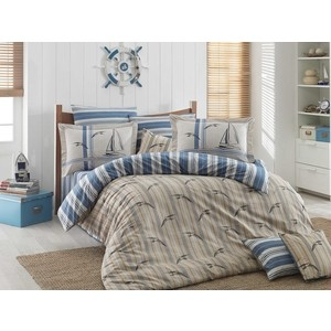 цена Комплект постельного белья Hobby home collection Евро, поплин, Marinella голубой (1501001329) онлайн в 2017 году