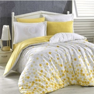 Комплект постельного белья Hobby home collection Евро, поплин, Star'S жёлтый (1501001774)